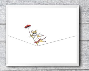 Tightrope Mouse 10x8 Signed Print
