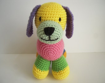 Crocheted Stuffed Amigurumi Patchwork Puppy Dog