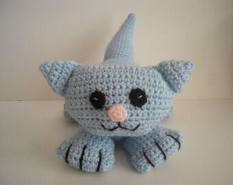 Crocheted Stuffed Amigurumi Lilac Cat