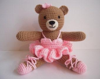 Crocheted Handmade Stuffed Amigurumi Ballerina Bear in Pink Tutu