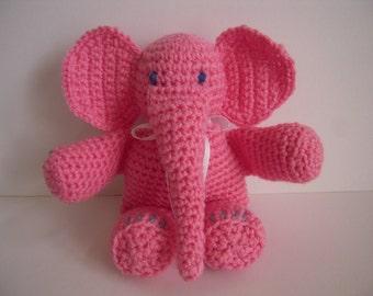 Crocheted Stuffed Amigurumi Pink Elephant Toy