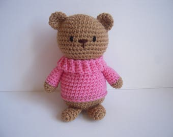 Crocheted Handmade Stuffed Amigurumi Teddy Bear with Pink Sweater