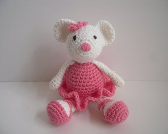 Crocheted Stuffed Amigurumi Ballerina Mouse