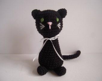 Crocheted Stuffed Amigurumi Black Cat
