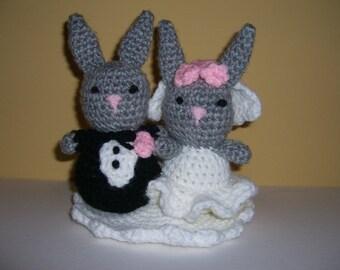 Crocheted Stuffed Amigurumi Bride and Groom Bunny Rabbits