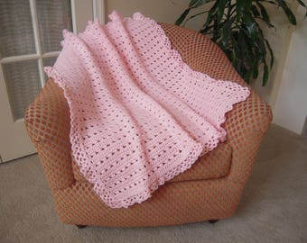 """Crocheted Baby Afghan/Blanket/Throw, Baby Pink 33""""W x 36""""L"""