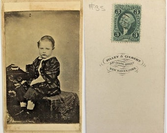 Antique Tax Stamp CDV Photo Forever Grumpy 1800s Carte De Visite Vintage Ephemera Collectible Visiting Card Cabinet