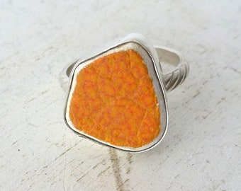 Orange ocean ceramic ring, sea ceramic piece set in Sterling Silver bezel and silver band, Gift for her