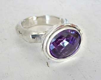 Purple Amethyst Ring, Statement ring, Industrial ring, Contemporary Art, Sterling Silver rustic ring