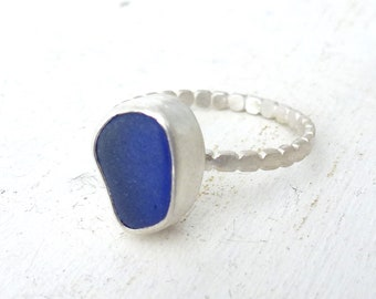 Navy blue genuine sea glass ring, sea foam glass set in fine silver bezel and thin silver band, Sea glass Ring
