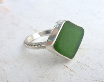 Olive green genuine sea glass ring, sea foam glass set in silver bezel and dotted silver band, Sea glass Ring