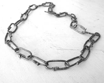 Massive link chain Necklace, Artisan Contemporary Art Oxidized Sterling Silver necklace, rustic Necklace, gift for him