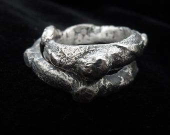 Raw Silver Ring, silver band for men, Blackened Sterling Silver Ring, textured Silver Wedding band, Contemporary art jewelry, ring for men