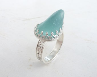 Aqua blue genuine sea glass ring, sea foam glass set in Sterling Silver filigree bezel and band, Sea glass Ring
