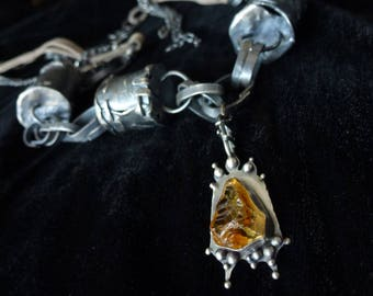 Barrel and Citrine Necklace, Natural Uncut rough Citrine pendant, Contemporary Art Oxidized Sterling Silver necklace, gift for her