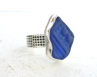 Navy blue genuine sea glass ring, sea foam glass set in fine silver bezel and mesh band, Sea glass Ring