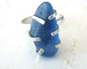 Cornflower blue genuine sea glass ring, sea foam glass set in Sterling Silver pronge setting and silver band, Sea glass Ring