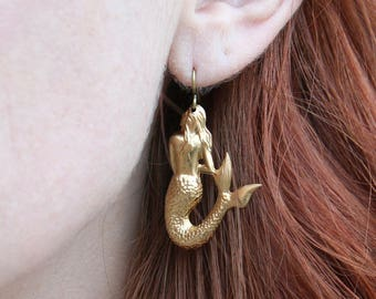 Sassy Brass Mermaid Dangle Earrings