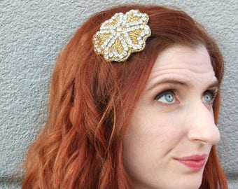 Silver and Gold Rhinestone Beaded Hair Clip
