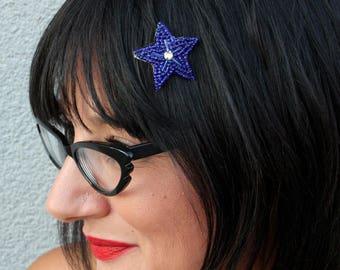 Cobalt Tiny Star Beaded Hair Clip