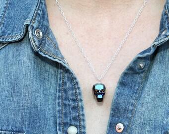 Cobalt luxe pendentif tête de mort en cristal Swarovski sur chaîne en argent Sterling
