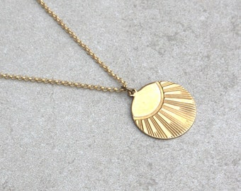 """Sunseeker Medallion Necklace // Medallion Collection // Warmth, Gold, Statement Jewelry, Sun, Sunshine // 16.75"""" Length // Gift for Her"""