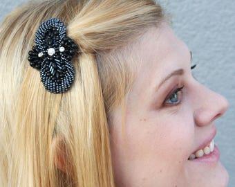 Black Pearl and Rhinestone Beaded Applique Hairclip // Art Deco // Roaring 20s // Great Gatsby // Wedding // Bridesmaid Gift