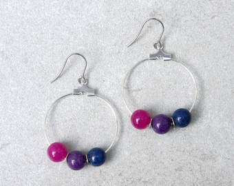 Bisexual Pride Earrings // Pride Collection // Inclusion, Rainbow, Sexuality, LGBTQ, Queer // WLW // Gift for Her // Gift for Them