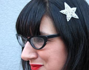 Silver Rhinestone Star Beaded Hair Clip