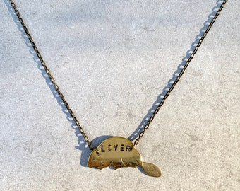 """PREORDER // Brass Beaver Lover Pride Necklace // Lesbian, WLW, LGBTQ, Gay, Enby, Bi  // 17.5"""" Length // Gift for Her, Gift for Them"""