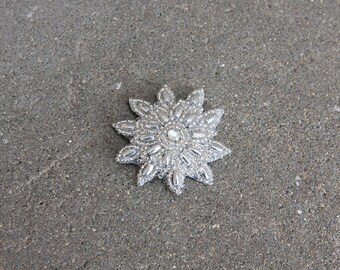 Beaded Silver Sunburst Hair Clip