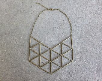 Geometric Bib Necklace in Antiqued Brass