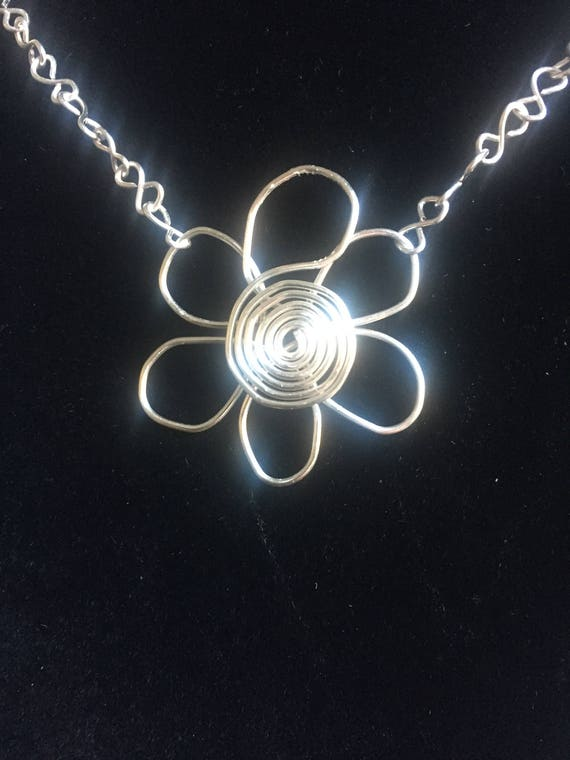 Silver Wire Wrapped Small Flower Necklace Flower Jewelry Etsy