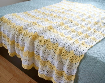 Bargello Small crochet blanket Handmade Throw medium weight nursery Beige and Ivory Afghan Bed Cover Ready to Ship
