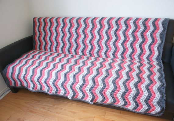 Chevron Flamingo Handmade Throw Zig Zag Afghan Grey Pink Etsy