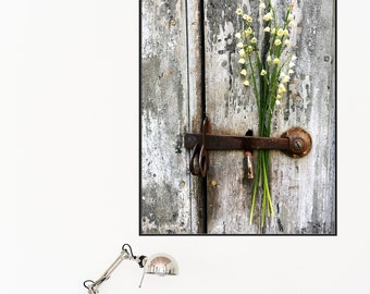 Rustic Barn Door, Weathered Barn Wood, Lily of the Valley, Floral Art, Wall Art Home Decor Photo paper poster Botanical Print