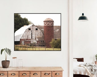 Rustic Barn and Silo Country Home Decor, Farmhouse Style, Barn Photo Print, Farm Decor, Living Room Wall Art, Country Living Photography Pri
