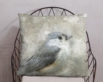 Tufted Titmouse, Bird Photo Pillow 18x18, 20x12, Nature Home Decor, Square Pillow, Farmhouse Decor, Cottage Style