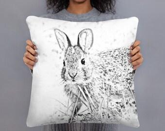 Spring Pillow, Rabbit Decor, Wildlife Home Decor, Black and White Decor, Lumbar Pillow, 20x12, Square Pillow, 18x18, Throw Pillow