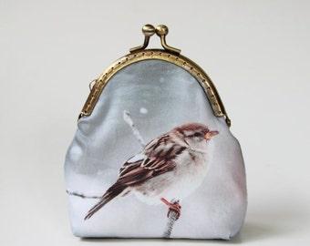 Sparrow Purse Wallet, Bird Purse, Handmade Purse, Fabric Purse, Coin Purse, Photo Image Purse