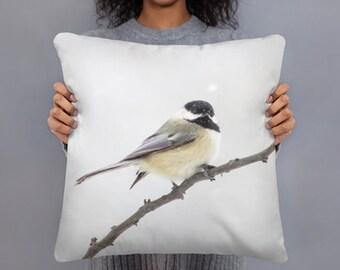 Black Capped Chickadee Pillow, Home Decor Sofa Pillow, Nature Decor, Bird Pillow
