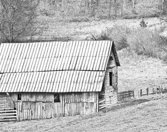 Rustic Barn Black and White Photography Print, Farmhouse Style, Barn Wall Art, Country Style, Landscape Print, Modern Rustic Country