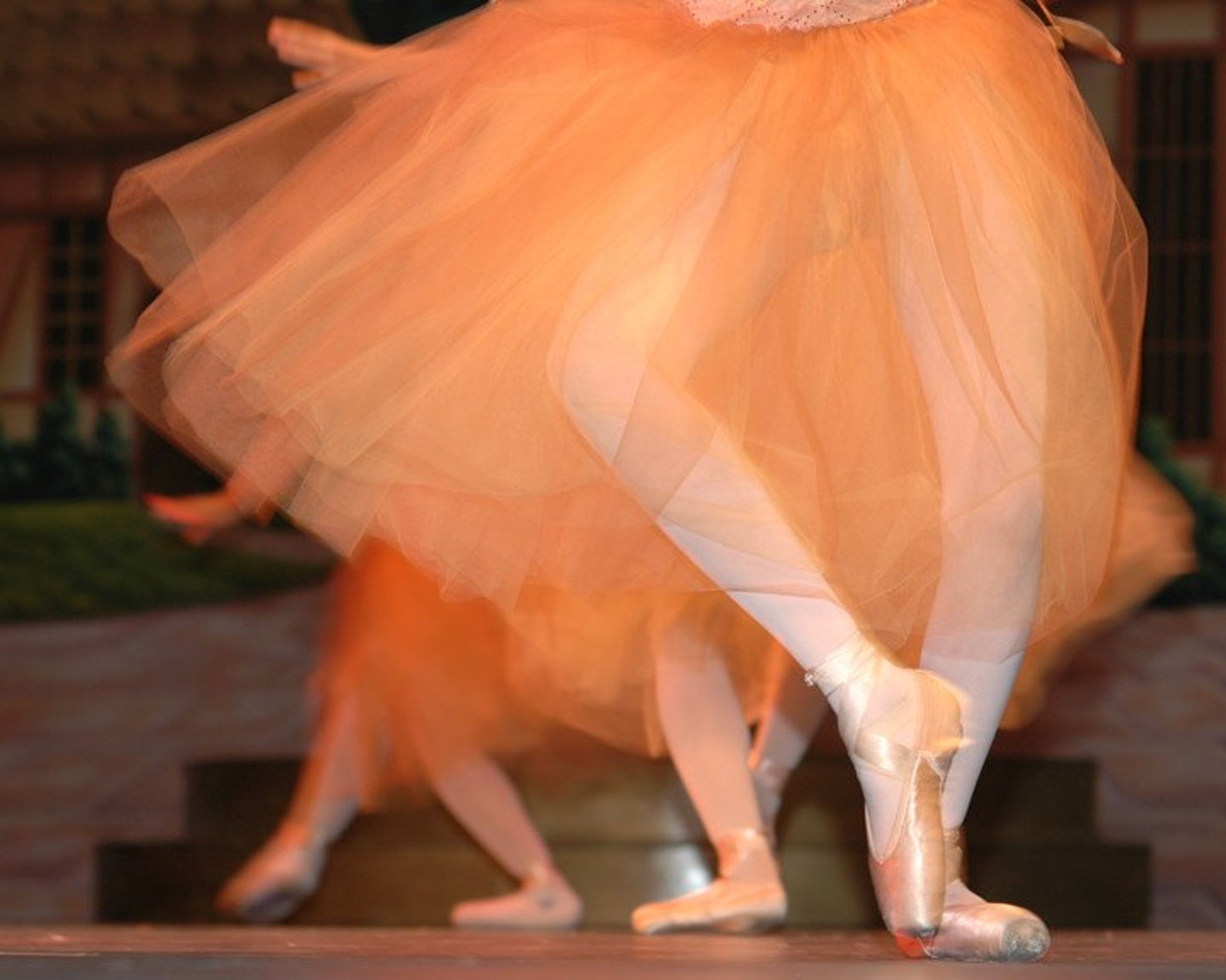 orange tulle - fine art photography - ballet dancers in orange tulle dresses. 8x10