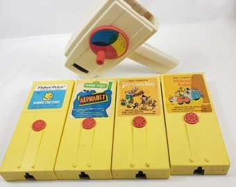 Kids Wife Numbers Vintage Fisher Price Sesame Street Movie Cartridges and Viewer Gift Pack 1970s Alphabet Cool Retro Gifts for Husband
