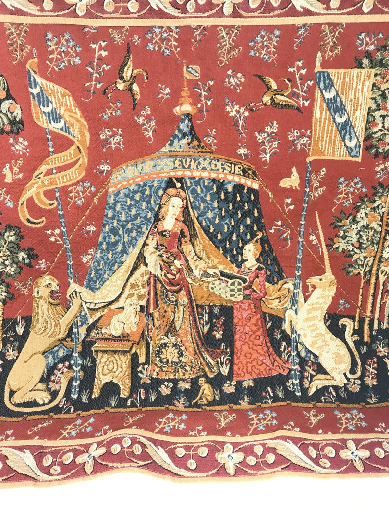 Medieval The Lady /& the Unicorn Hearing Counted Cross Stitch Chart Pattern