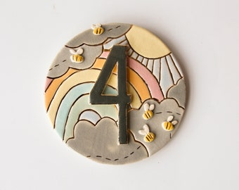 colourful, ceramic house sign, rainbow house number sign, outdoor ceramic tile, outdoor pottery house address plaque, made to order