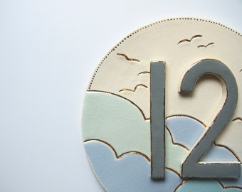 House Number Sign, Ceramic House Name Sign, Personalised House Number Plaque, Modern Minimalist House Sign Tile, Simple Round Number Plaque.