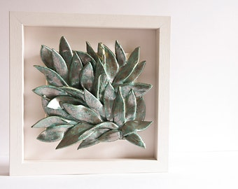 LEAVES, ceramic wall art, wall hanging, home decor, ceramic tile, verdigris, silver, celadon green and white