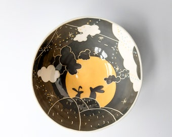 Large ceramic serving bowl, salad and mixing bowl, porcelain, illustrated with hares in the moonlight design in grey and yellow, unique.
