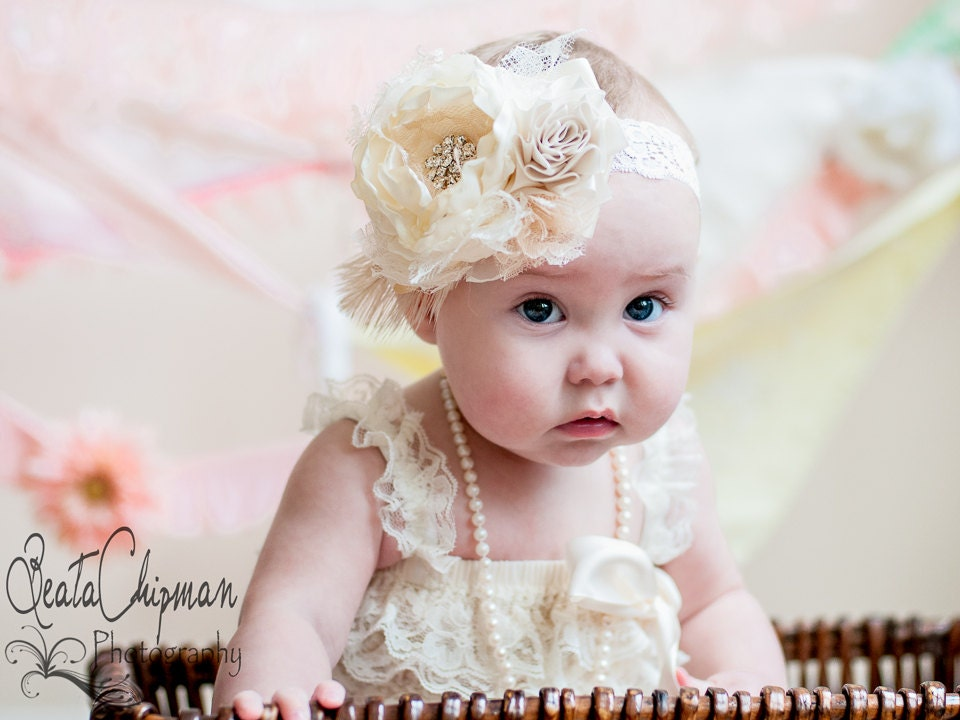 Ivory Baby Headband Baptism Christening Hair Accessories  61023065aff